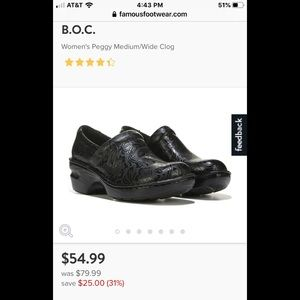 Ladies BOC black toiled leather clogs shoes 7.5 8